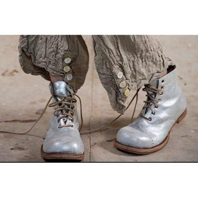 Light Gray Chunky Heel All Season Lace Up Boots