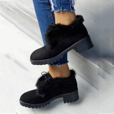 Lace-Up Fur Lined Winter Ankle Boots Womens Warm Shoes