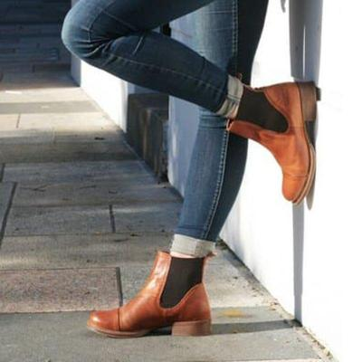 Office Slip On Chunky Heel Ankle Boots
