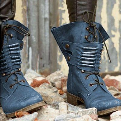 Fashion Chunky HeelLace Up Mid-Calf Boots Womens Casual New Shoes