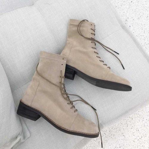 Lace-up Chunky Heel All Season Suede Boots