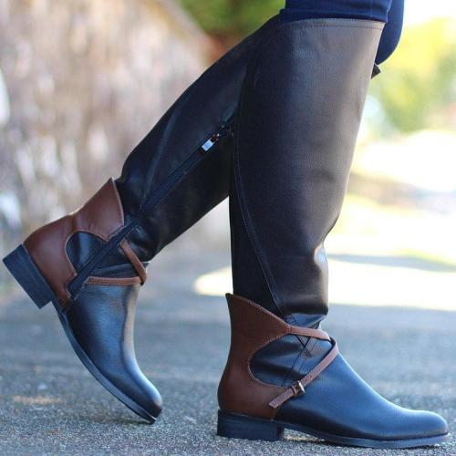 Women Round Toe Zipper Spring Casual Pu Chunky Heel Boots