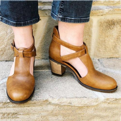 Adjustable Buckle Chunky Heel Dress Shoes Fall Closed Toe Heels