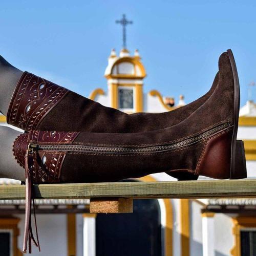 Outdoor Low Heel Leather Block Knee Boots