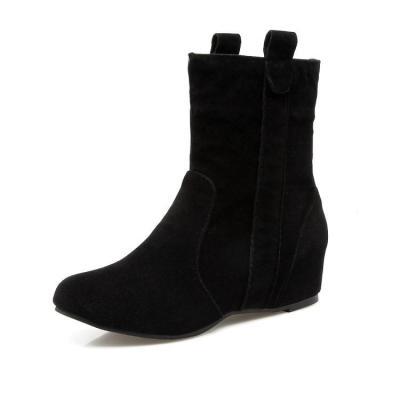 Flock Wedge Short Boots Plus Size Women Shoes 4864