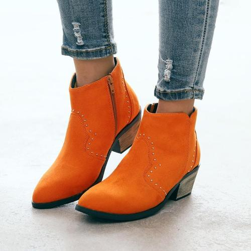 Chunky Heel Closed Toe Women Boots