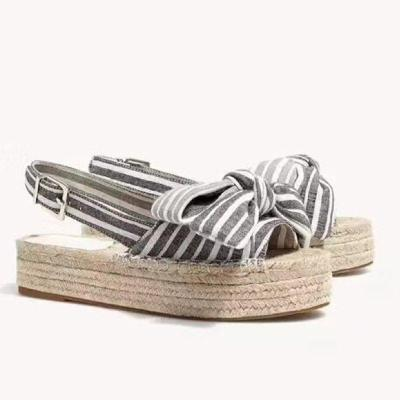 Women's Stripe Bowknot Platform Sandals