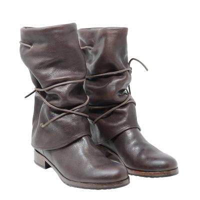 Vintage Women Fold Over Lace-Up Boots Plus Size