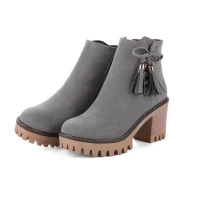 Women Shoes Tassel High Heel Plus Size Platform Short Boots