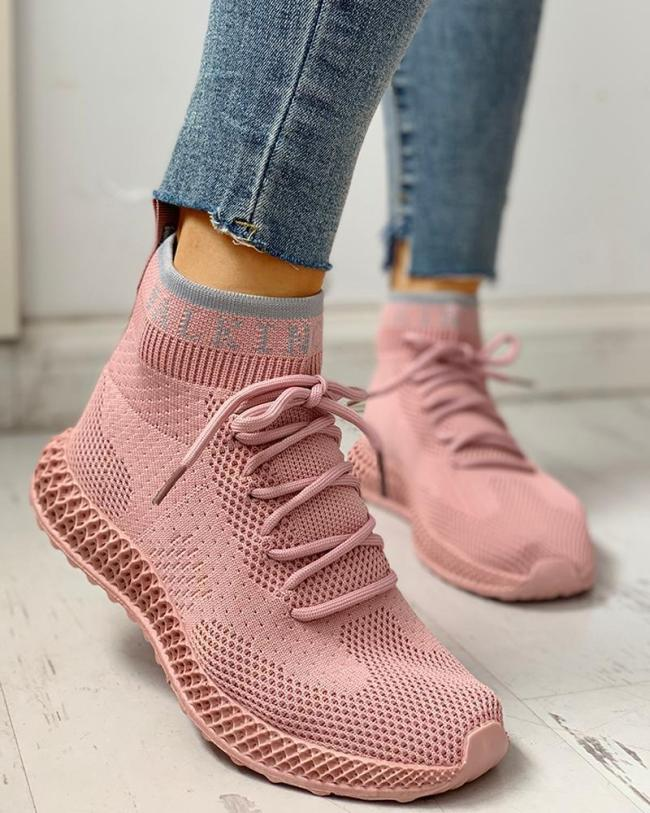 Net Surface Breathable Lace-Up Casual Sneakers