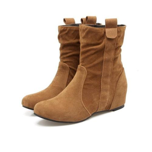 Flock Wedge Short Boots Plus Size Women Shoes 4864