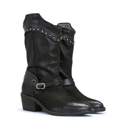 Block Heel Daily Rivet Pu Boots