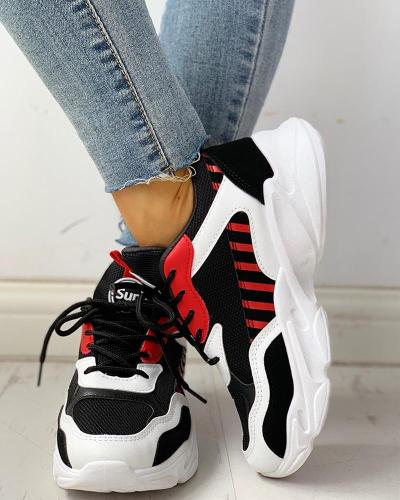 Colorblock Lace-Up Casual Platform Sneakers