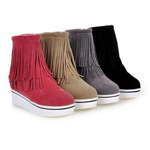 Women Tassel Platform Wedge Short Boots Plus Size Autumn and Winter Shoes 2167