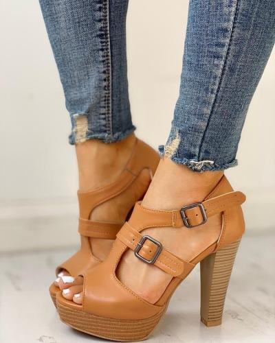 Peep Toe Platform Chunky Heeled Sandals