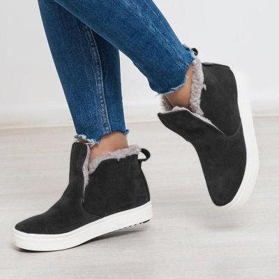 Winter Fur Lined Round Toe Slip-On Flat Heel Warm Snow Boots