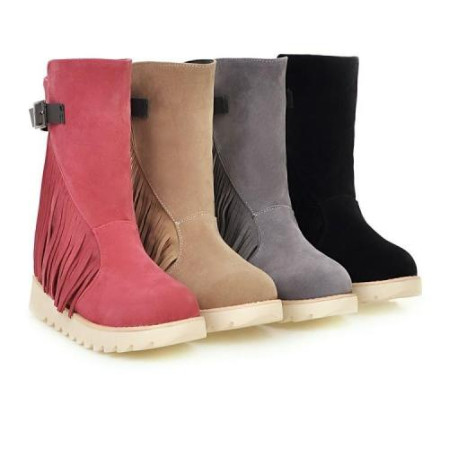Women Tassel Wedge Short Boots Plus Size Autumn and Winter Shoes 6269