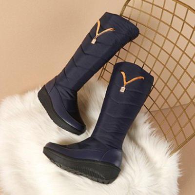 Pu Platform Mid-Calf Winter Boots Slip On Round Toe Snow Boots
