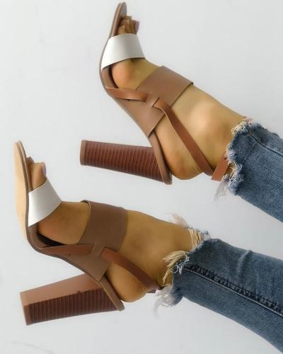 Contrast Color Slingback Buckled Chunky Heeled Sandals