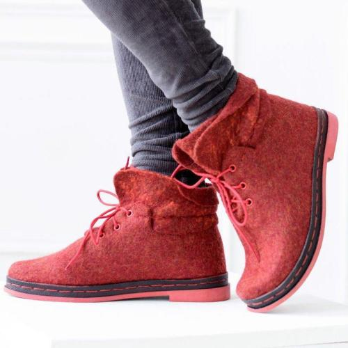 Women Winter Slip-On Lace-Up Woolen Ankle Boots