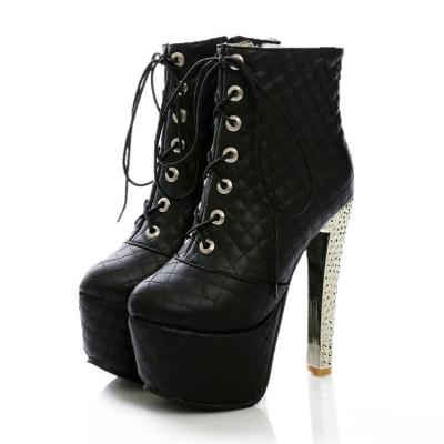 Women's Lace Up Platform Ankle Boots Sparkly Heels Shoes Autumn and Winter 3157