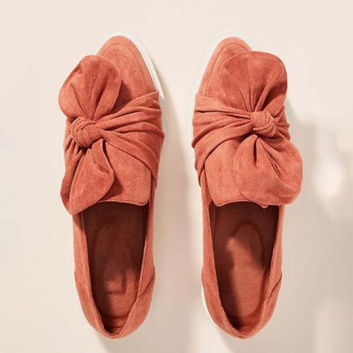 Women Pointed Toe Casual Artificial Suede Bowknot Flat Heel Loafers