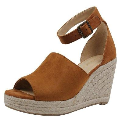 Women Espadrille Wedge Peep Toe Ankle Strap Sandals