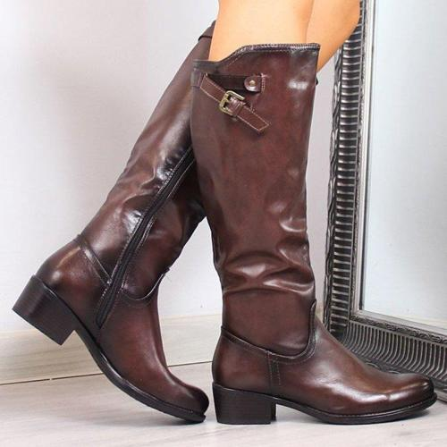 All Season Side Zipper Chunky Heel Boots