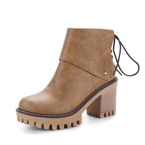 Women's Ankle Boots Autumn and Winter High Heel Thick Heel Round Head Short Boots Shoes