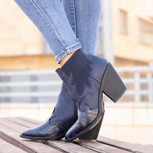 Women Vintage Daily Slip On Chunky Heel Ankle Boots