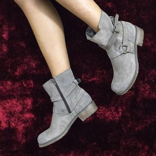 Adjustable Buckle Faux Suede Block Heel Ankle Boots