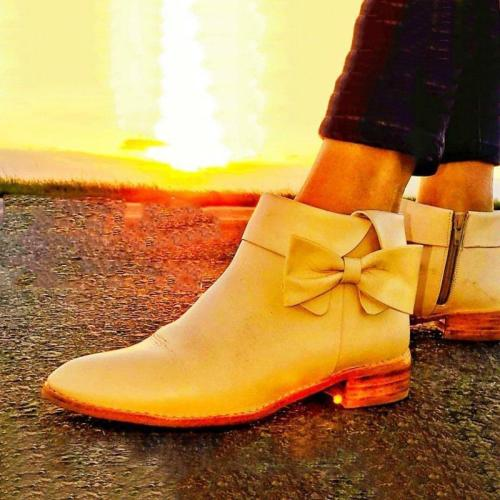 Women Winter Slip-On Bowknot Ankle Boots