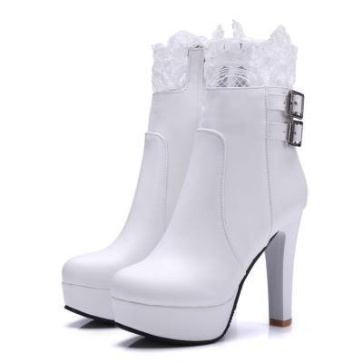 Lace Platform High Heels Short Boots Plus Size Women Shoes 6041