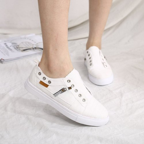 2021 Flat Shoes Women Sneakers Zipper Flats Female Casual Shoes Fashion Slip On Loafers Women Big Size Flats