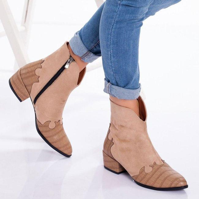 Womens Zipper All Season Boots Artificial Leather Suede Patchwork Short Boots