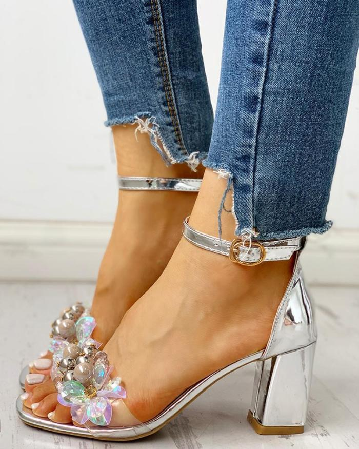 Beaded Ankle Strap Chunky Heeled Sandals