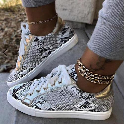 cuteshoeswearPlus Size 38-43 Women Snake Printing PU Leather Vulcanized Shoes Female Sneakers Fashion Platform Woman Shoes Walking Footwear