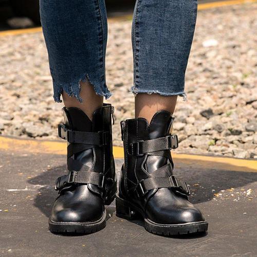 Black Women Closed Toe Low Heel Low (<3Cm) Boots