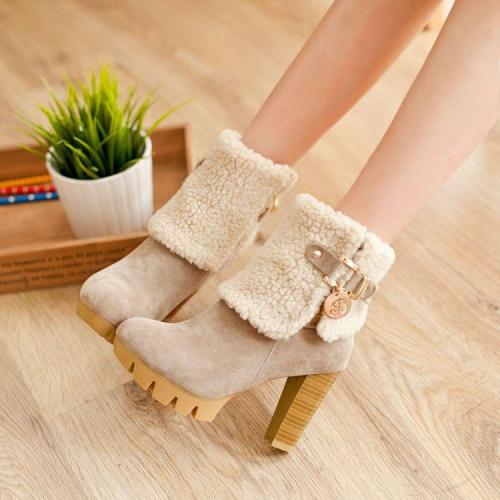 Lamb Wool Zipper High Heels Short Boots Plus Size Women Shoes 5121