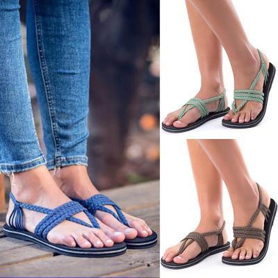 Women Comfortable Flip Flops Braided Sandals