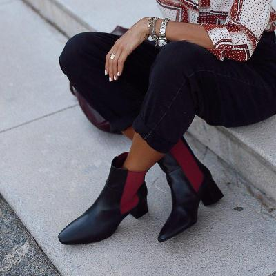 Black Pu Chunky Heel Ankle Boots