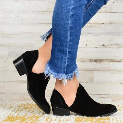 Woman Solid Chunky Heel Round Toe Slip-on Sandals Pumps