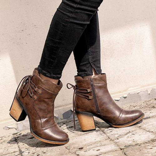 Taupe Chunky Heel Med (3-8Cm) Women Round Toe Boots