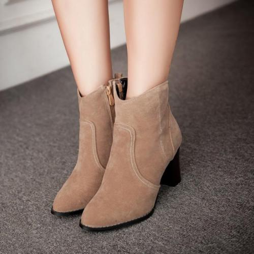 Zip Chunky Heels Short Boots Plus Size Women Shoes 7363