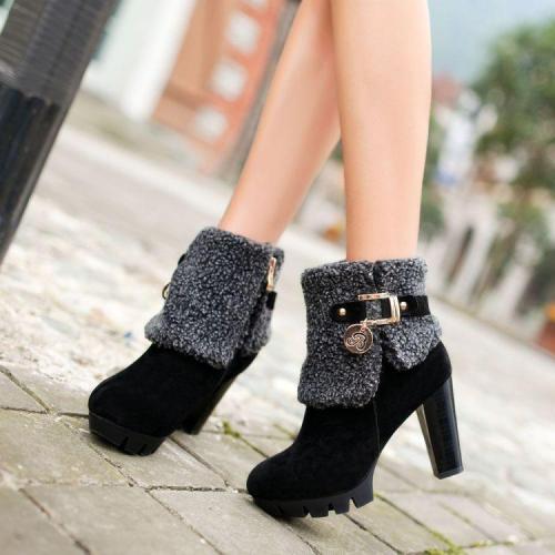 Lamb Wool Zipper High Heels Short Boots Plus Size Women Shoes 5121