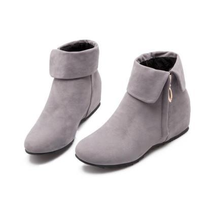 Zip Wedge Short Boots Plus Size Women Shoes 4205