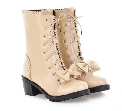 Lace Up Bowtie Short Boots Plus Size Women Shoes 7949