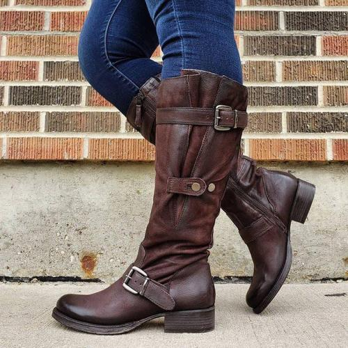 Buckle Strap Pu Leather Mid-Calf Boots With Zipper