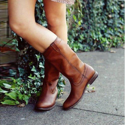 Low Heel Pu Slip-On Boots Mid-Calf Women Boots