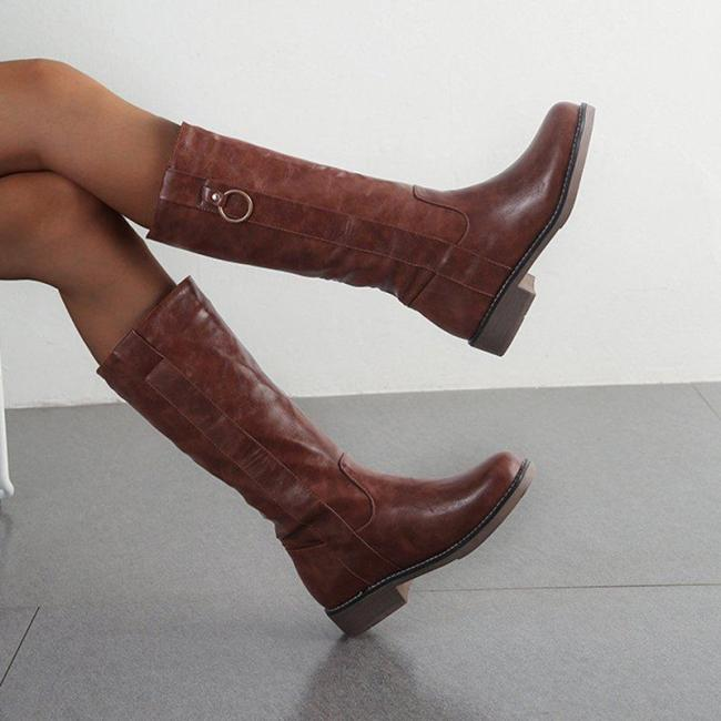 Woman Vintage Casual PU Ring Chunky Heel Knee Boots
